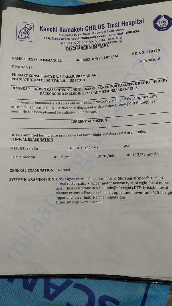 Medical admission report