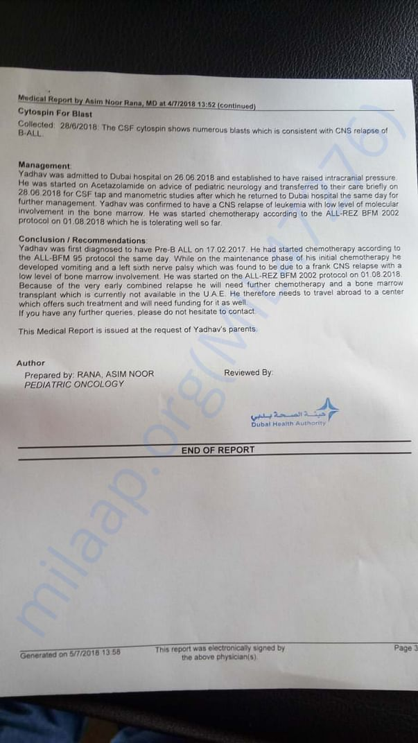 Medical report for Yadhav