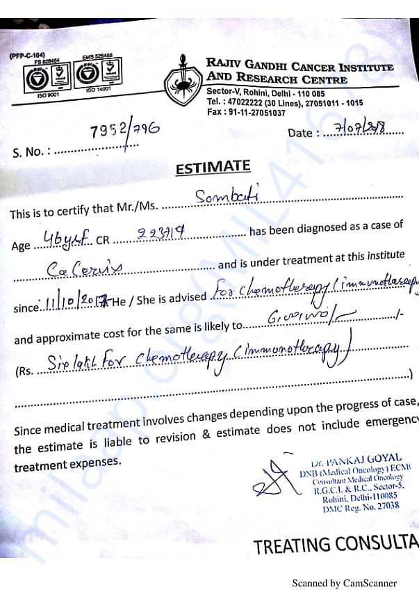 Medical Certificate and estimation