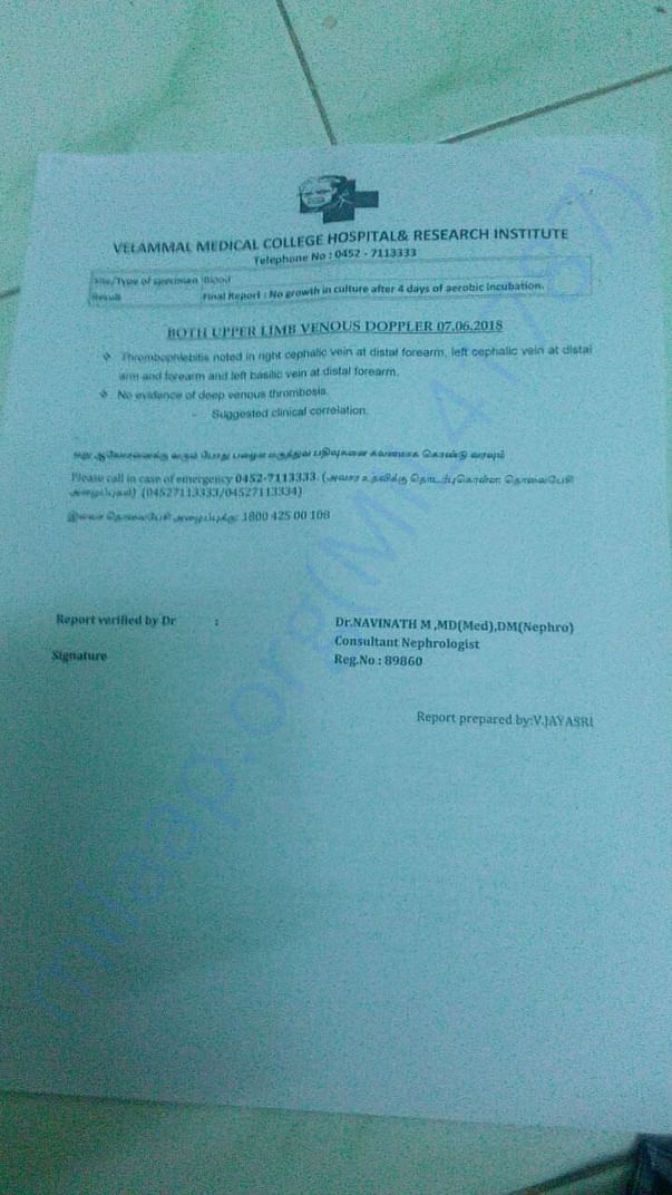 This is the medical report for the concern person