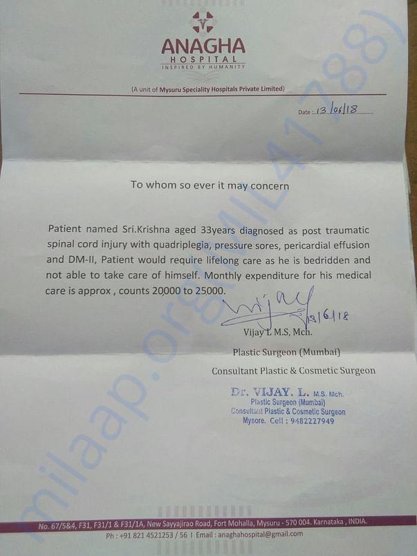 Anagha Hospital letter for fund raising,