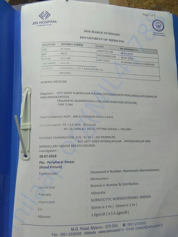 JSS Hospital Discharge Summary
