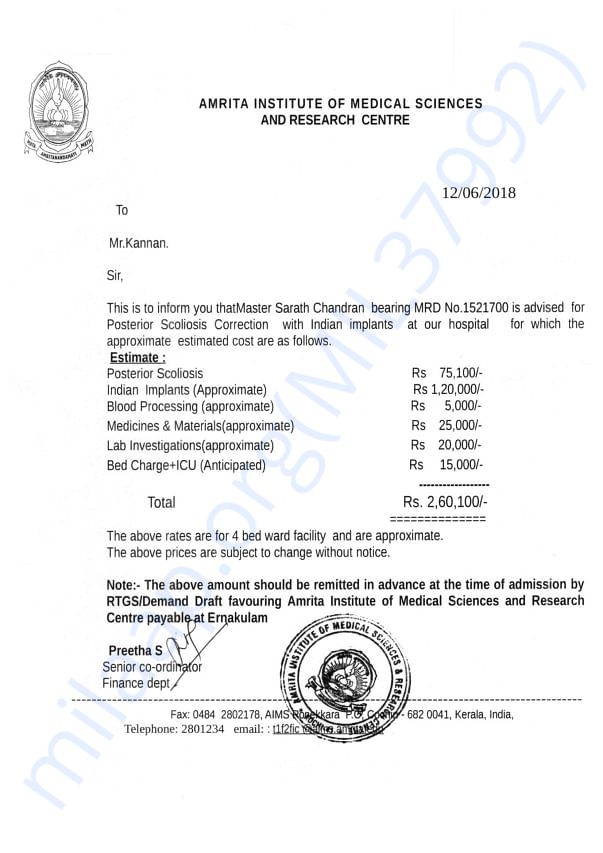 Estimate Letter of Sarath Chandran