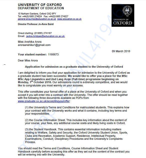 My University offer letter