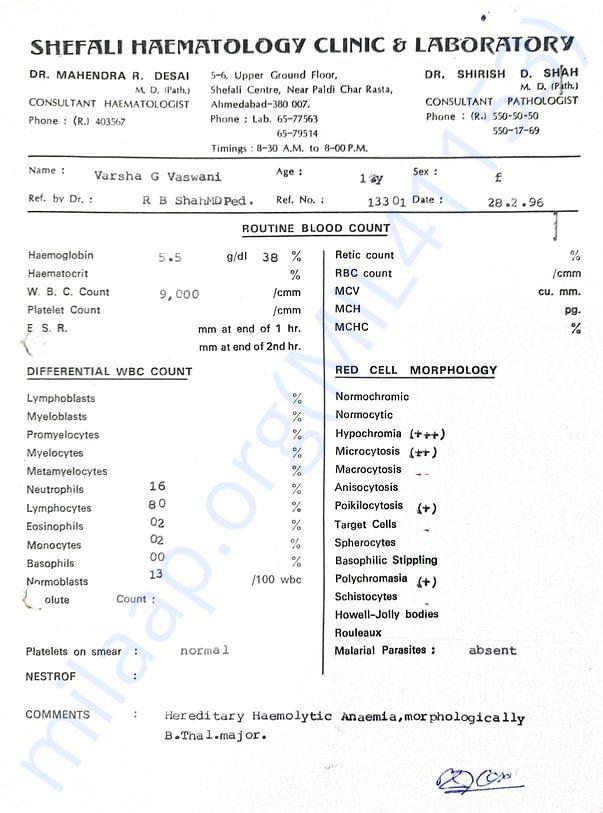 Thalassemia Major Report