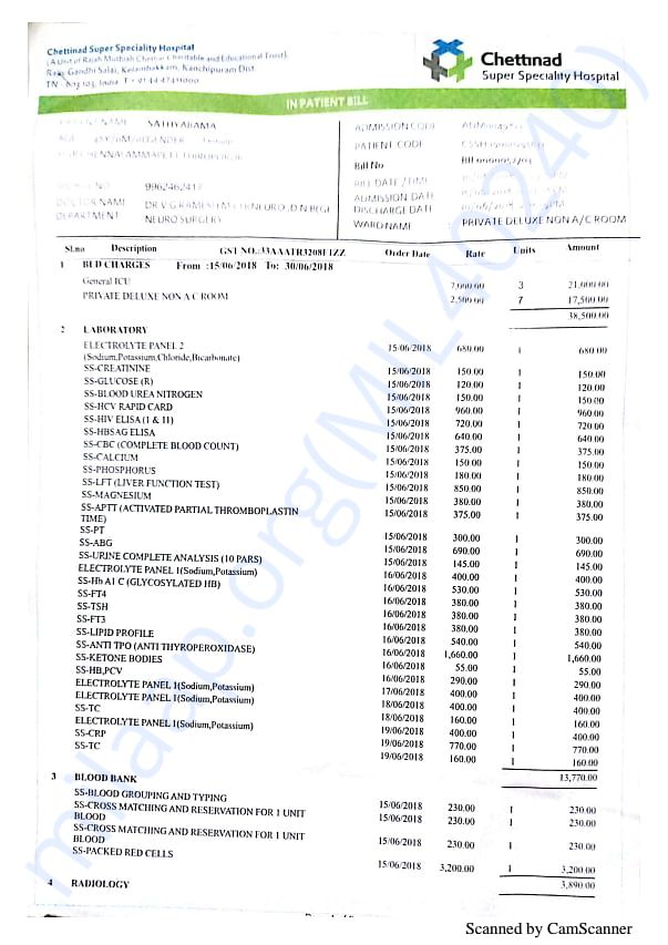 Invoices for surgery and hospitalisation