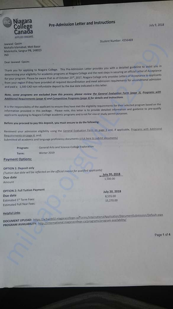 here is my offer loetter from Niagara College, Canada