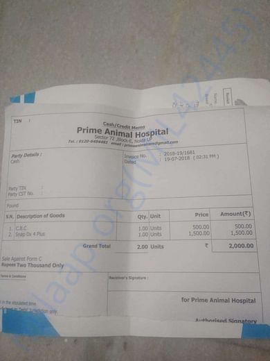 First day Bill from hospital