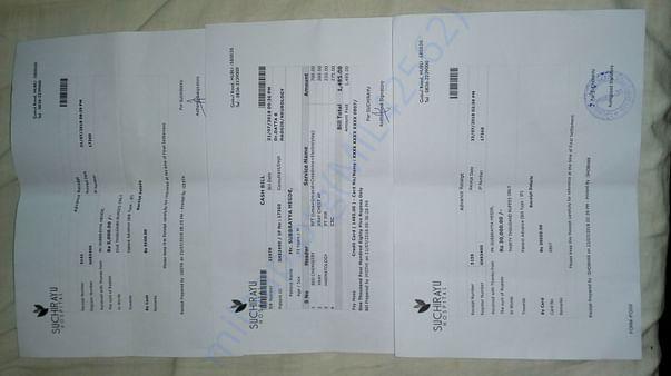 Advance payment towards ICU admission.in SUCHIRAYU Hospital Hubli.
