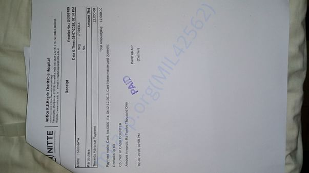 ICU Bill of K.S.Hegde hospital Mangalore.