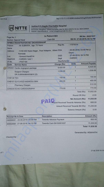 Angiogram Charges from .K.S.Hegde Hospital Mangalore.