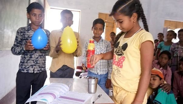 Science experiment going on in one of the rural schools