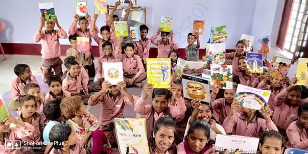Kids happy getting a library