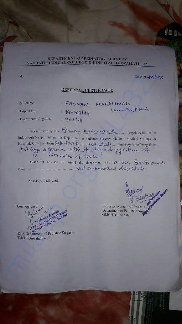 Refer from guwahati GMCH to Banglore Narayana hospital
