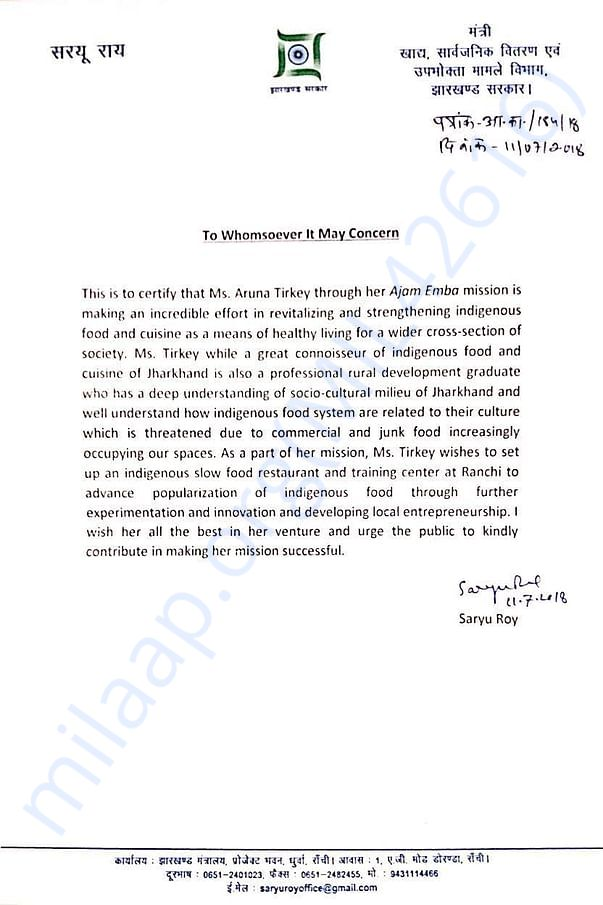 Jharkhand Food Minister's appreciation letter