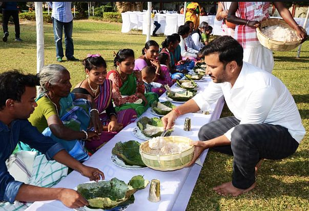 Catering in a function to honor decendents of Birsa Munda