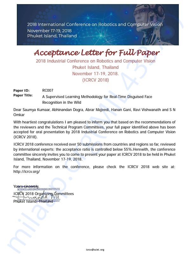 Conference Acceptance letter