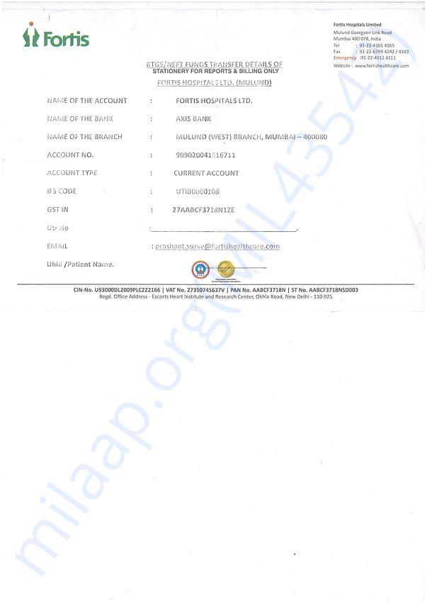FORTIS HOSPITAL BANK DETAILS