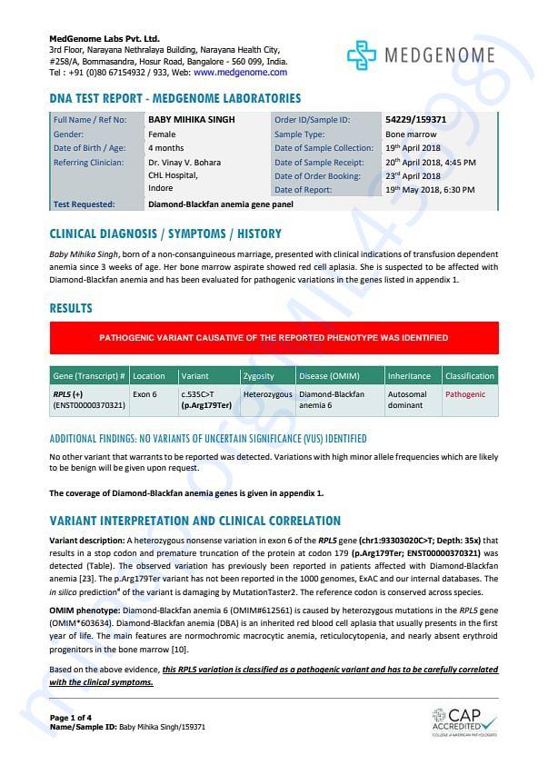 Diamond Blackfan Anemia Test Report 1st Set