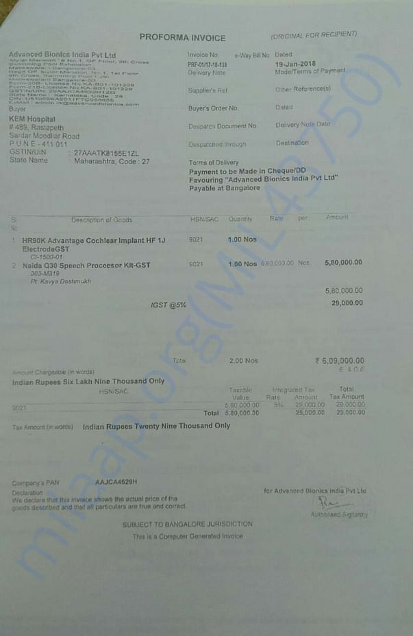 Invoice from Adavnced Bionics for the Cochlear Implant Device
