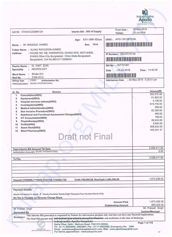 Copy of Bill for Mr. Maqsud Ahmed