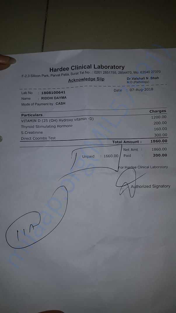 today's my blood test reciept    date 07-08-2018