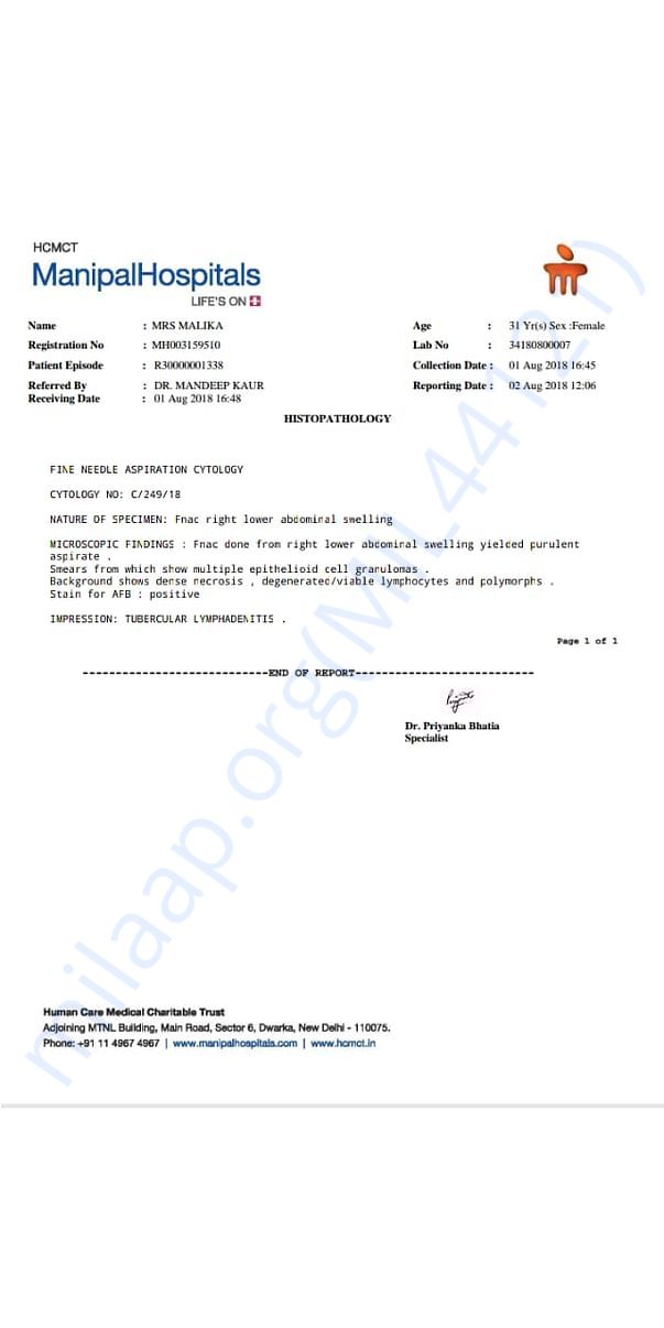 Report from Biopsy test from Manipal Hospital