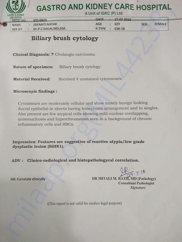 Biliary brush cytology