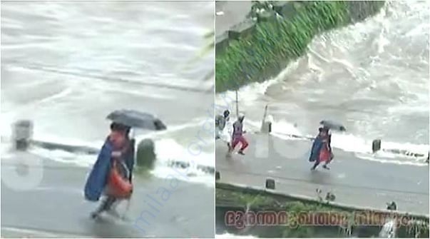People trying to run and save children stranded