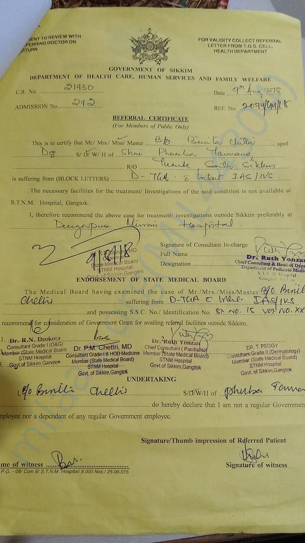 Referral certificate from STNM,Gangtok,Sikkim