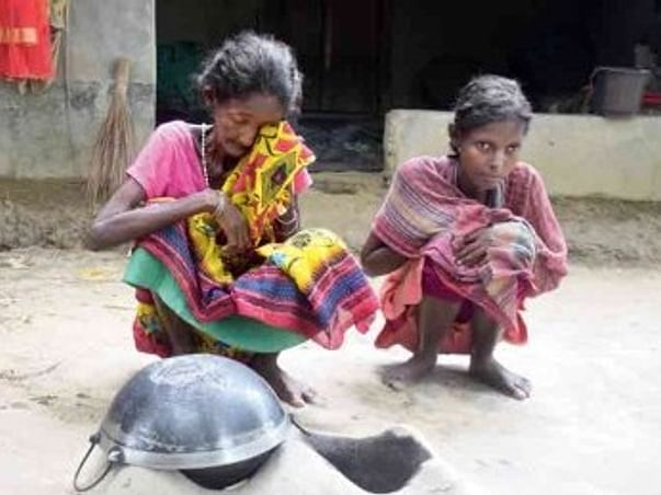 Tribal mother and daughter are starving due to lack of food,