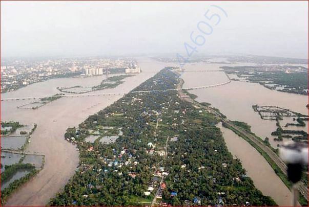 An aeriel view of the floods in Aluva after heavy rains