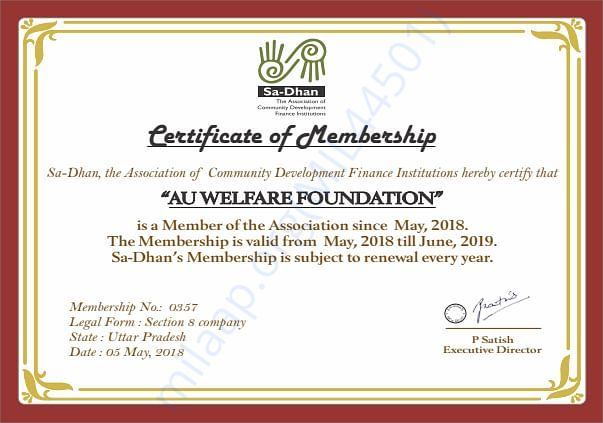 AUW is a recognized member of Sa-dhan, SRO for microfinance in India