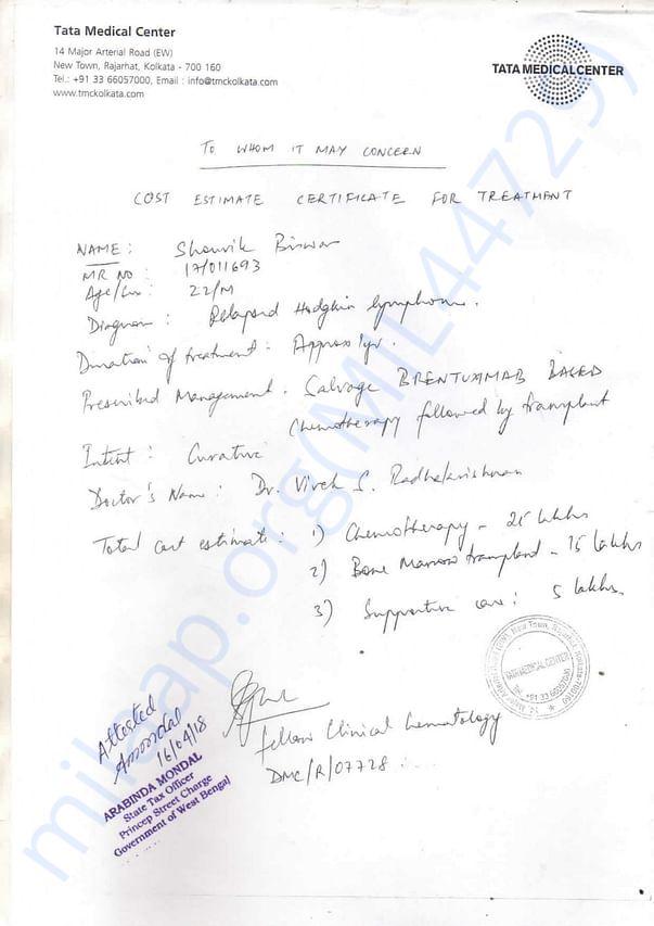 Cost Estimate for Treatment Certificate