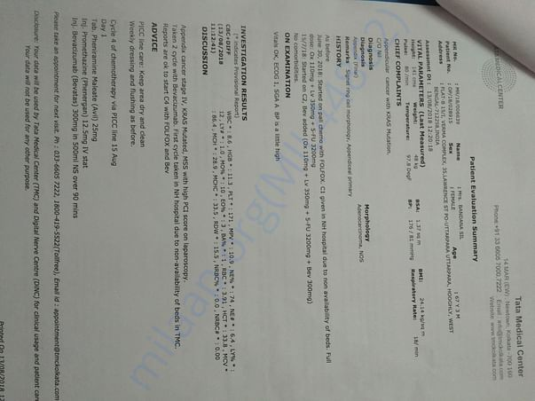 Admission letter for 4th cycle of chemotherapy
