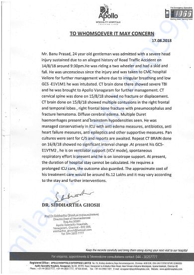 Apollo Hospitals Estimated Letter with Neuro doctor Siddhartha's sign