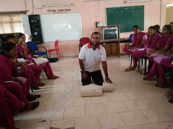 Giving training about Basic life support to students as a trainer