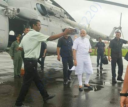 Hon. PM arrived to  visit the flooded area on 18th August