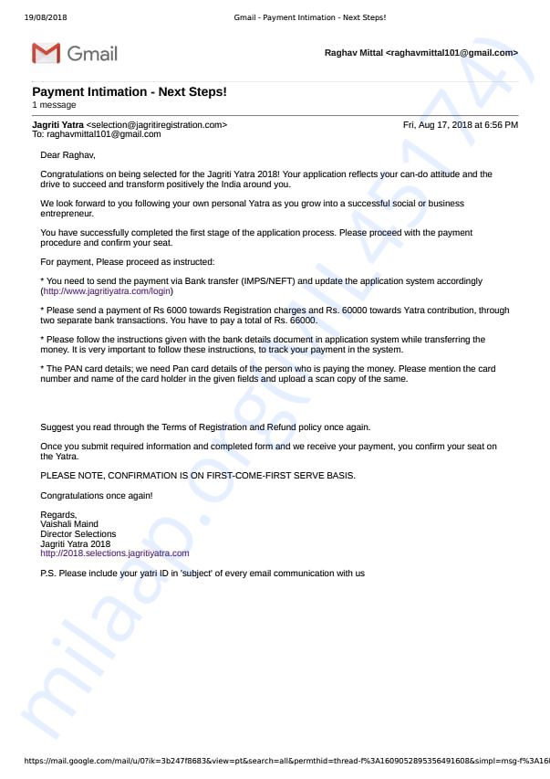 Selection confirmation and payment intimation mail