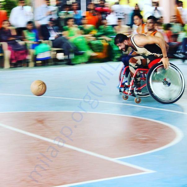 Javed chasing a ball at Paraplegic Rehabilitation Centre, Pune.