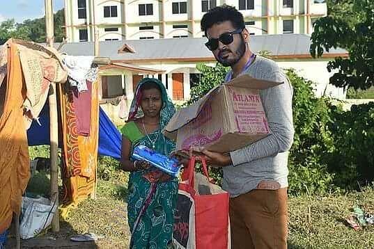 Sanitary napkin distribution among flood victims