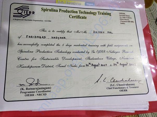 Training Certificate in Spirulina cultivation