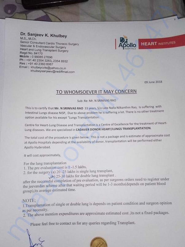 Letter from treating Dr from Apollo hospitals