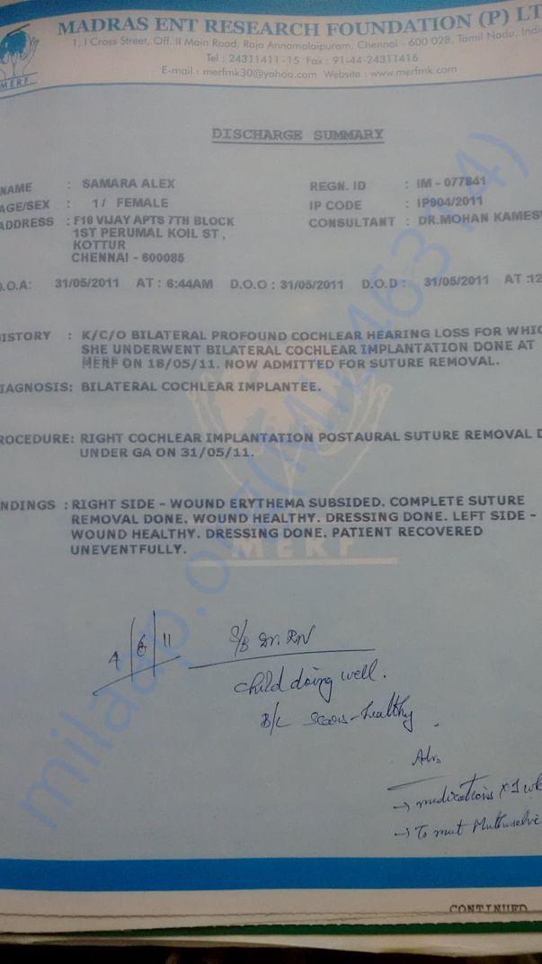 Discharge summary 2011
