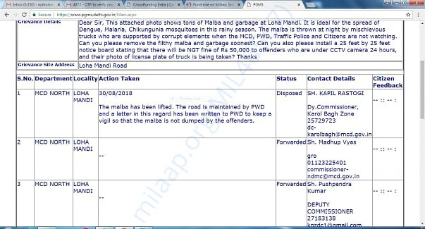 Municipal Corporation Report on My Complaint to Remove Concrete Malba