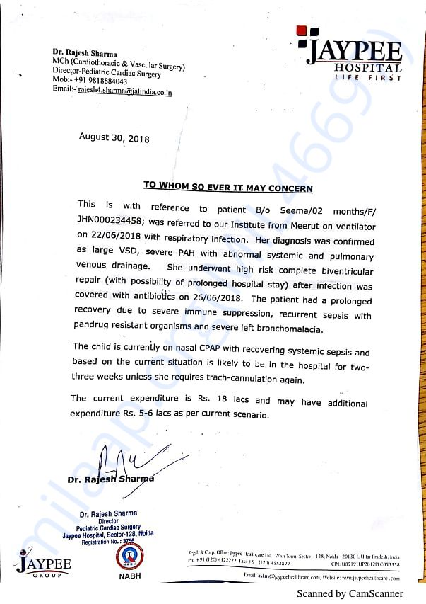 EXPENDITURE DETAILS CERTIFICATE ISSUED BY JEEPEE HOSPITAL