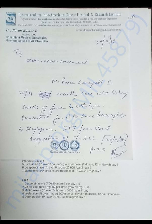 Admitted in Basavatarakam indo American cancer hospital