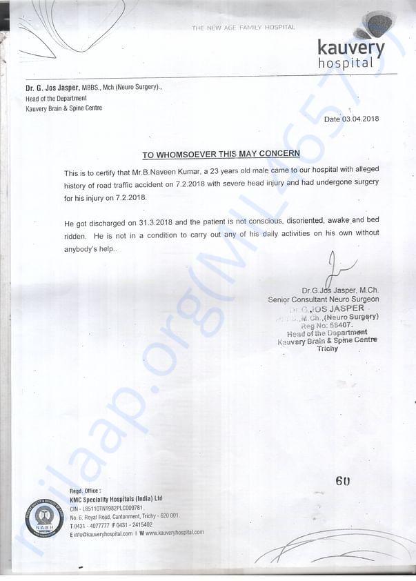 Naveen Kumar Medical Summary