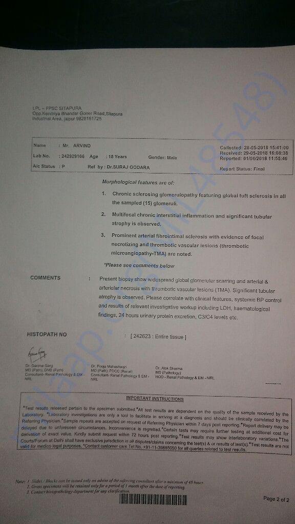 Kidney biopsy report 1