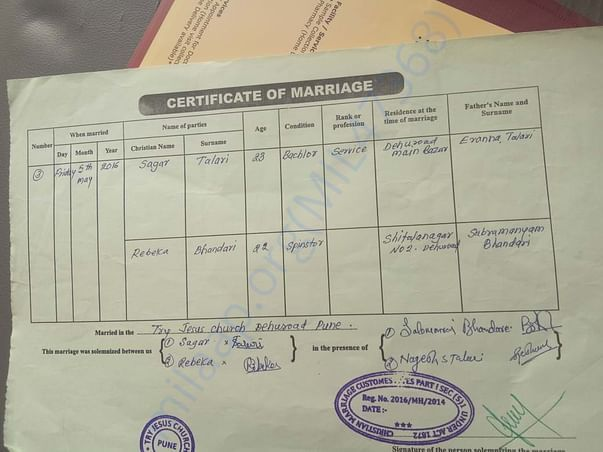 Marriage Certificate Of Sagar & Rebeka